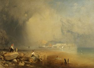 Mediterranean Coastal Scene or Capriccio of the Cobb, Lyme Regis, 1857. By James Baker Pyne (1800-1870)