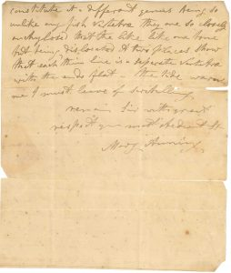 A letter in Anning's handwriting to J.S. Miller, first curator of the Bristol Institution.