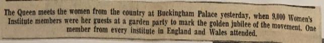 clippings from the Brentor, Devon, Women's Institute 1965 Royal Garden Party scrapbooks.