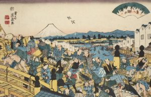 A Japanese Print shows people crossing Nihonbashi bridge in the heart of Edo, old Tokyo.