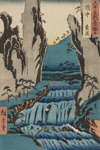 This Japanese print shows the Makidani river coursing through Gokei valley, a place famous for its strange rock formations