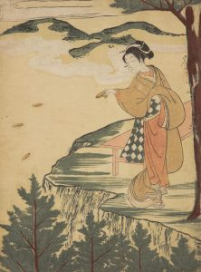 A Japanese Print showing a woman throwing clay dishes over a cliff in a religious ritual
