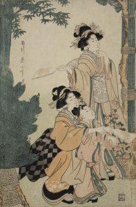 A Japanese Print showing three women playing hanetsuki - a game similar to badminton