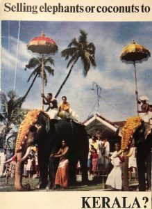 David Bolland recorded his memories of working in business in India. This pamphlet was among his possessions. The pamphlet is a picture of people riding elephants. There are palm trees in the background.
