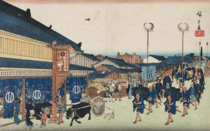A Japanese print showing a procession of people towards a building