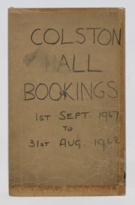 Front flap of the box office wall planner, from the 1967-1968 season