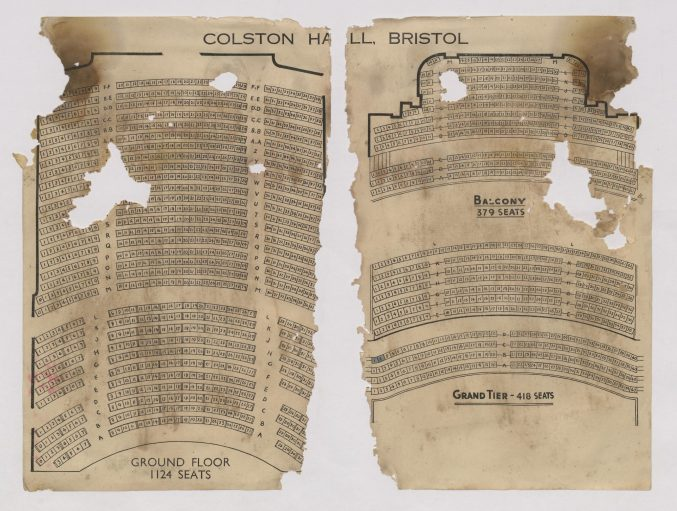 Ripped paper showing a seating plan for the fourth Hall, built in the 1930s - now in the Bristol Beacon archive