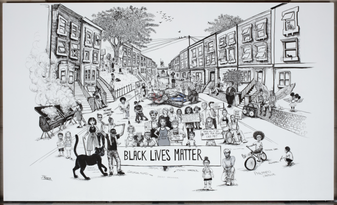 An illustrated mural showing a Bristol street full of people. A Black Lives Matter banner sits in the foreground